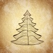 Christmas tree on grunge background — Stock Vector