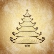 Christmas tree on grunge background — Stockvectorbeeld
