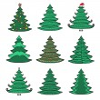 Hand drawn green Christmas tree set — Stock Vector