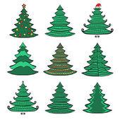 Hand drawn green Christmas tree set — Stock Vector