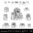 Vector doodle set of Christmas gifts  — Stock Vector