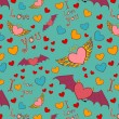 Valentine color seamless pattern on blue — Stok Vektör