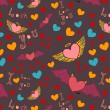 Valentine color seamless pattern on dark — Stok Vektör