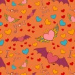 Valentine color seamless pattern on orange — Stock vektor
