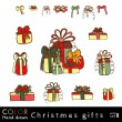 Christmas gifts and bows vector set — Cтоковый вектор