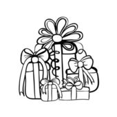 Vector hand drawn gifts box pile — Stock Vector