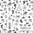 Stock Vector: Vector Christmas hand drawn seamless pattern