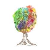 Watercolour varicoloured tree. — Wektor stockowy