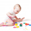 Year-old child with paint — Stock Photo