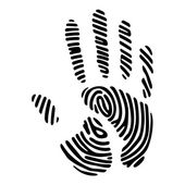 Handprint with fingerprint pattern — Stock Vector