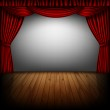 Red curtain and cinema screen — Stock Vector #49686189