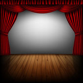 Red curtain and cinema screen — Vector de stock