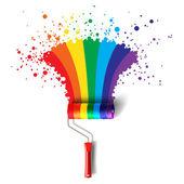 Escova de rolo do arco-íris — Vetor de Stock