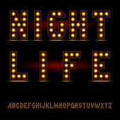 Lightbulb alphabet font — Stock Vector