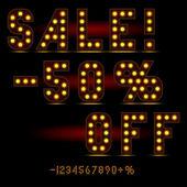 Lightbulb digits — Stock Vector
