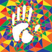 Polygonal color hand print — Stock Vector