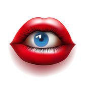 Red lips with eye — Stock Vector