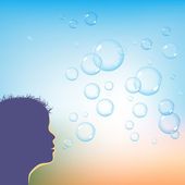 Blowing soap bubbles — Stock Vector