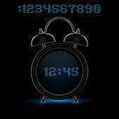 Black alarm clock — Stock Vector