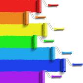 Rainbow roller brush — Stock Vector