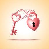 Heart lock with key — Stock Vector
