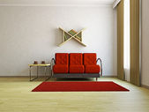 Red sofa in the livingroom — Stock Photo