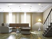 Livingroom with sofa and a lamp — Stock Photo