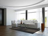 Livingroom with white sofa — Stock Photo