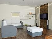 家具とテレビ付きのリビング ルーム — ストック写真