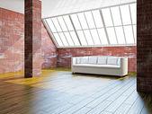大的大厅与白色沙发 — 图库照片