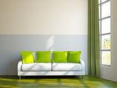 Livingroom with sofa and a plant — Stock Photo