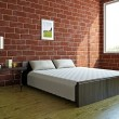 Bedroom with a big bed — Stock Photo
