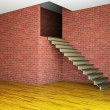 Empty room with stairway - Stock Photo