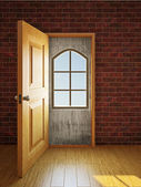 The window in the doorway — Stock Photo