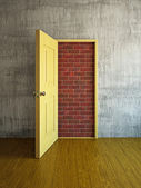 Brick wall in a doorway — Stock Photo