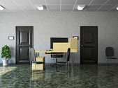 Hall with leather chairs — Stock Photo
