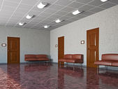 Hall with leather sofas — Stock Photo