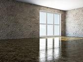 Tomt rum med fönster — Stockfoto