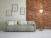 Livingroom with sofa — Stock Photo