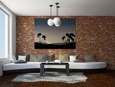 Livingroom with big sofa — Stock Photo