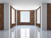 Empty hall with windows — Stock Photo