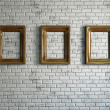 Three empty wooden frames — Stock Photo