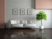 Livingroom with sofa — Stock Photo
