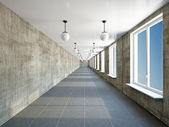 Empty big corridor with window — Stock Photo