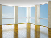 Empty room with windows — Stock Photo