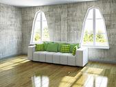 White sofa near the windows — Stock Photo