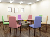 Color chairs for discussion — Stock Photo
