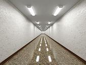 The empty long corridor — Stock Photo