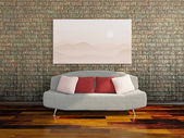 Sofa near a dirty wall — Stock Photo