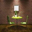 Cafe with green table — Stockfoto